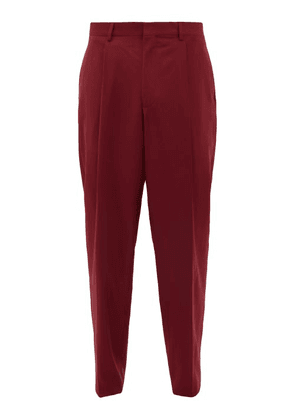 E. Tautz - Pleated Wide Leg Wool Twill Trousers - Mens - Burgundy