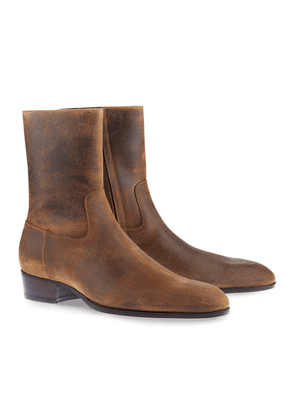Brown Leather Side-Zip Cash Boots