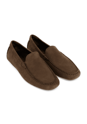 Brown Nubuck Leather Officina Driving Loafers