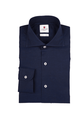 Navy Royal Voile Cotton Shirt