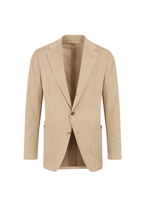 Beige Washed Cotton Needlecord Single-Breasted Jacket