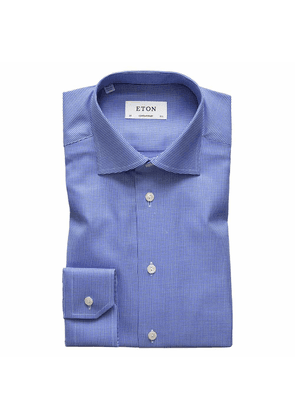 Textured Blue Cotton-Twill Contemporary Signature Cut Away Single-Cuff Shirt