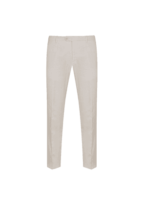 White Linen and Cotton-Blend Trousers