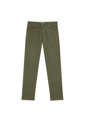 Green Cotton and Silk-Blend Trousers