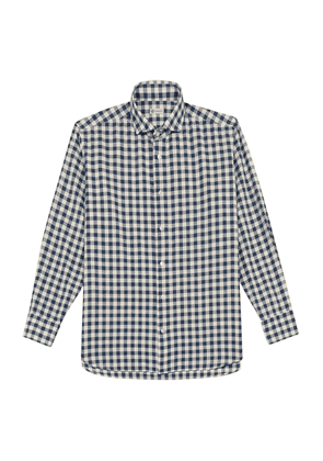 Navy Gingham Cotton Shirt