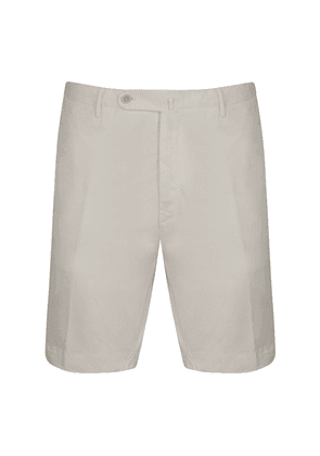 White Washed Cotton Tailored Bermuda Shorts