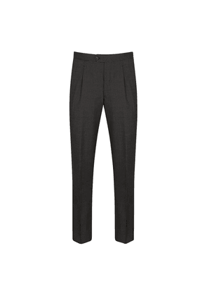 Charcoal 2-Ply Vitale Barberis Canonico Wool Pleated Trousers