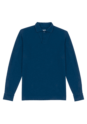 Navy Cotton-Linen Long-Sleeved Polo Shirt
