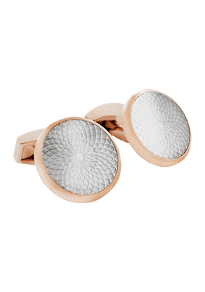White and Rose-Gold Round Guilloche Cufflinks