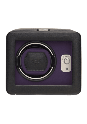 Black and Purple Vegan Leather Windsor Single Winder with Cover