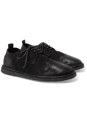 Marsell - Distressed Leather Derby Shoes - Black