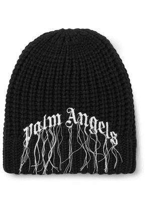 Palm Angels - Logo-embroidered Ribbed Wool Beanie - Black
