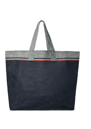 Cleverly Laundry - Grosgrain-trimmed Denim Tote Bag - Blue