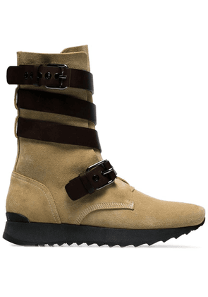 Loewe brown Sue strappy suede and leather flat boots - Neutrals