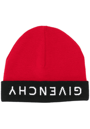 Givenchy upside down logo beanie - Red