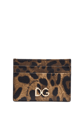 Dolce & Gabbana leopard print card holder - Brown