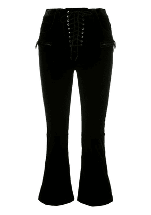 Unravel Project velvet cropped lace-up trousers - Black