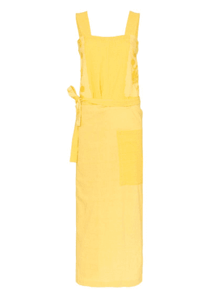 By Walid Shirley embroidered wrap-panel dress - Yellow