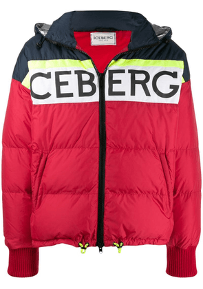 Iceberg logo padded hooded jacket - Red