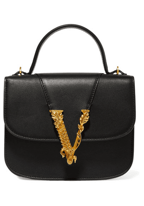 Versace - Virtus Small Leather Tote - Black