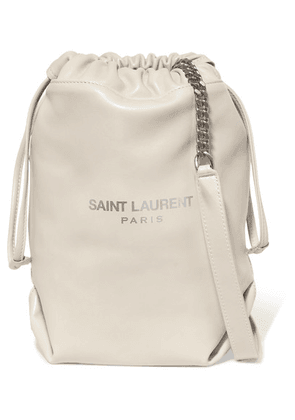 SAINT LAURENT - Teddy Leather Bucket Bag - Off-white