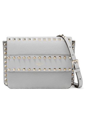 Valentino - Valentino Garavani The Rockstud Textured-leather Shoulder Bag - Gray