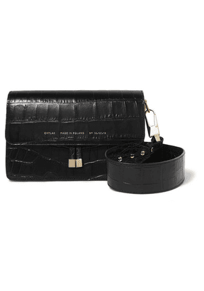 Chylak - Glossed Croc-effect Leather Shoulder Bag - Black