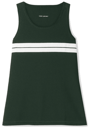 Tory Sport - Striped Stretch-mesh Tank - Forest green