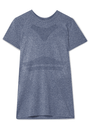 LNDR - Quest Embroidered Marled Stretch-jersey T-shirt - Light blue