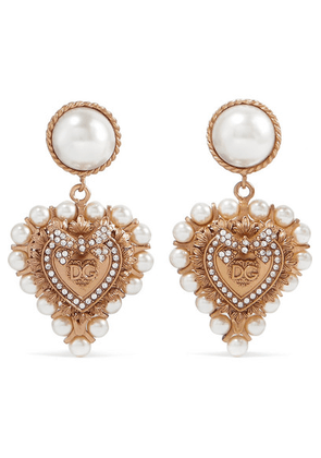 Dolce & Gabbana - Gold-tone, Faux Pearl And Crystal Clip Earrings - one size