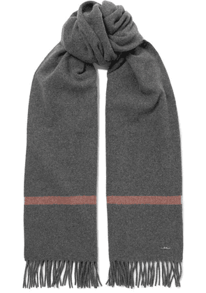 Loro Piana - Twelve Fringed Striped Cashmere Scarf - Dark gray
