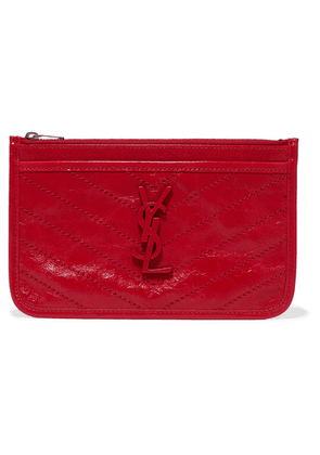 SAINT LAURENT - Niki Quilted Crinkled Glossed-leather Pouch - Red