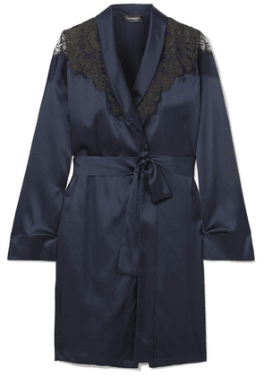 I.D. Sarrieri - Embroidered Tulle-trimmed Silk-blend Satin Robe - Navy