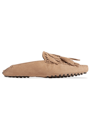 Tod's - Gommino Embellished Fringed Suede Slippers - Brown