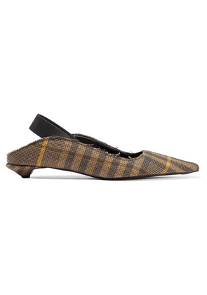 Proenza Schouler - Frayed Checked Wool And Linen-blend Slingback Pumps - Brown