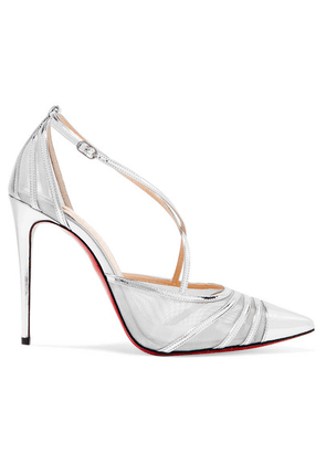 Christian Louboutin - Theodorella Metallic Leather And Mesh Pumps - Silver