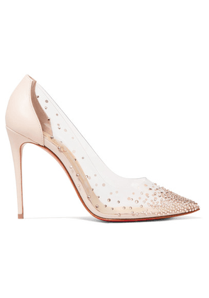 Christian Louboutin - Degrastrass 100 Embellished Pvc And Leather Pumps - Pastel pink