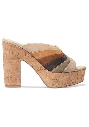 Christian Louboutin - O Sister 120 Paneled Suede Platform Mules - Neutral
