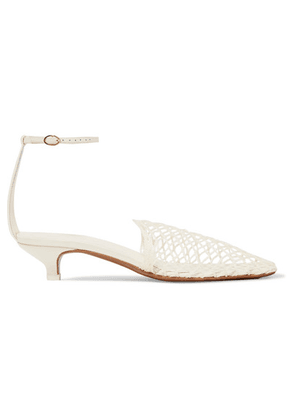 Neous - Acantho Crochet And Leather Pumps - Cream
