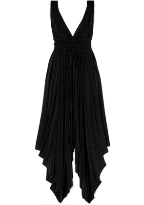 Norma Kamali - Goddess Ruched Stretch-jersey Midi Dress - Black