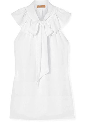 Michael Kors Collection - Pussy-bow Ruffled Silk-crepe Blouse - Off-white