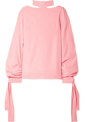 Rosetta Getty - Tie-detailed Crepe Blouse - Baby pink