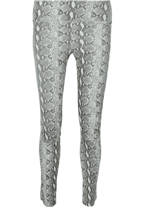SPRWMN - Snake-print Leather Leggings - Gray