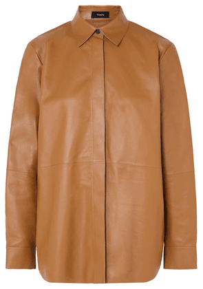 Theory - Leather Shirt - Brown