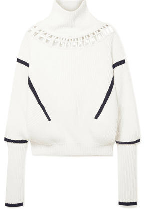 palmer//harding - Lateral Cutout Ribbed Merino Wool And Cotton-blend Turtleneck Sweater - Cream