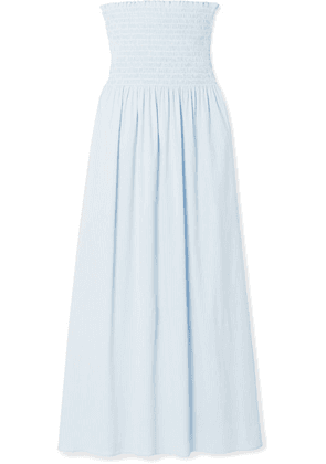 La Ligne - Meredith Shirred Striped Cotton-blend Poplin Midi Dress - Light blue
