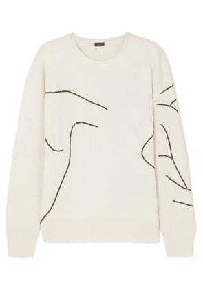 Joseph - Embroidered Wool Sweater - Ecru