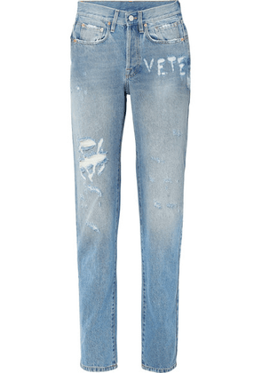 Vetements - Distressed High-rise Straight-leg Jeans - Blue