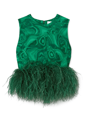 16ARLINGTON - Dickinson Cropped Feather-trimmed Printed Crepe Top - Green