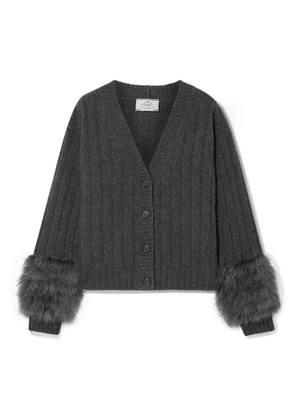 Prada - Feather-trimmed Ribbed Wool And Cashmere-blend Cardigan - Charcoal